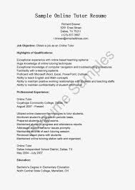 Tutor Job Description Resume by Example Of Online Resume Resume For Your Job Application