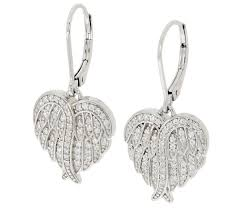 back earrings diamonique angel wing lever back earrings sterling page 1 qvc