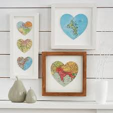 Heart Map Map Heart Wall Decor Use Maps Of Places You Have Traveled