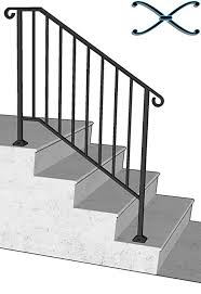 Outdoor Metal Handrails Diy Iron X Handrail Picket 3 Fits 3 Or 4 Steps Amazon Com
