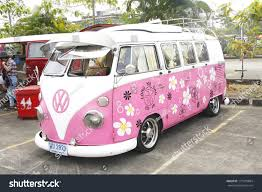 van volkswagen pink bangkok thailand february 15 volkswagen retro stock photo