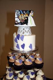 wars wedding cake topper rock pastries purple white heart cupcakes with starwars