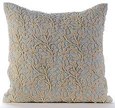 light blue accent pillows amazon com luxury light blue accent pillows pearls crochet lace