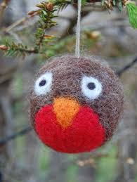 4x felted christmas decorations choose from pukeko robin