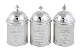 silver kitchen canisters silver tea coffee and sugar caddies home inspiration