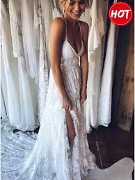 spaghetti wedding dress a line spaghetti straps backless court lace wedding