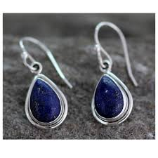 hook earrings handmade sterling silver blue teardrop lapis lazuli hook earrings