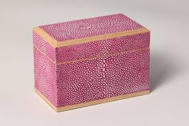 playing card box pink shagreen forwood design