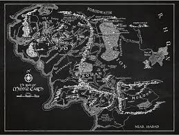 Map Middle Earth Inked And Screened Sci Fi And Fantasy U0027middle Earth Map U0027 Silk