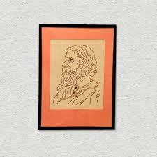 buy online copper wire art design portrait of kavi guru in wooden