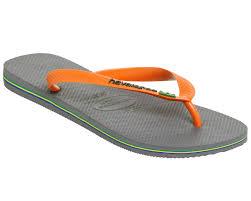 havaianas brasil logo steel grey neon orange sandals