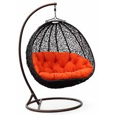 Padded Hammock Chair Furniture Black Painted Webbing Hanging Chair For Bedroom Using