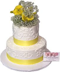 1913 2 tier wedding cake with yellow ribbon u0026 flowers abc cake