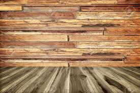 perspective wood plank floor or walk way with wood wall