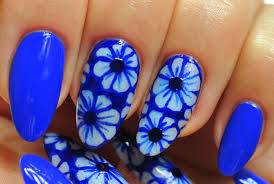 nail art neon dark blue design flowers youtube