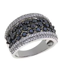 silver band 2 02ctw black and white diamond sterling silver band ring