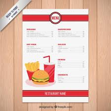 fast food restaurant menu template vector free download