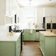 green kitchen cabinets with white island kitchen painting projects before and after paper moon painting