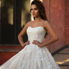 corset wedding dresses chagne wedding dresses with appliques strapless