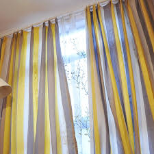 Yellow Brown Curtains Linen Yellow Brown White Study Striped Curtains