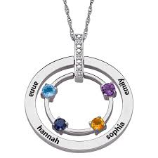november birthstone alex and ani mother u0027s birthstone and diamond accent double circle pendant in