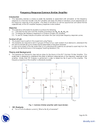 bjt common emitter frequency response basic electronics lab