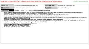Maintence Resume Machinist General Maintenance Job Title Docs