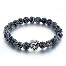 metal bead bracelet images Natural stone lion bracelet handmade beads ethnic mens jewelry jpg