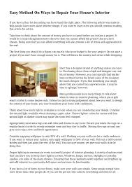 easy method on ways to repair your house u0027s interior