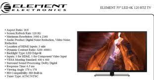 target 50 inch element black friday element 55 inch eluft551 4k smart tv specs warning product