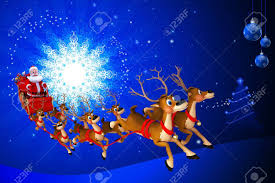 santa with his sleigh on blue color background stock photo