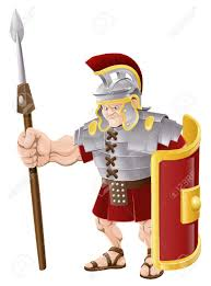 illustration of strong looking roman soldier with spear and shield