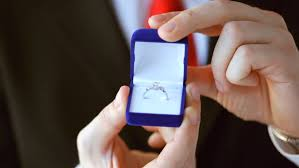 wedding ring in a box groom or salesman holding a box with wedding ring stock footage