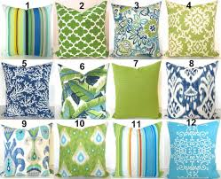 Blue Outdoor Cushions Green Outdoor Pillows Lime Green Pillow Blue Outdoor Throw