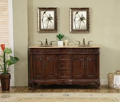 60 inch victorian double sink bathroom vanity cabinet with
