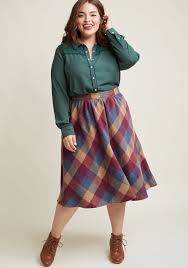 plaid skirt sunday sojourn midi skirt in warm plaid modcloth