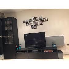 Besta Dvd Storage by Ikea Besta Tv Storage Combination Wall Unit In Black Brown With