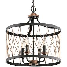 Cottage Pendant Lighting Kichler Lighting Brookglen 15 98 In Black With Gold Tone Country