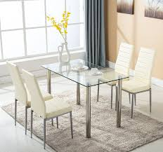 rectangle glass dining room tables amazon com 5pc glass dining table with 4 chairs set glass metal