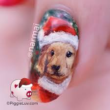 piggieluv santa dog nail art for christmas