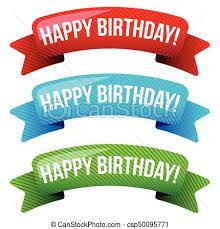 happy birthday vector ribbon set vectors illustration search