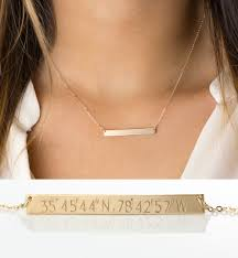 Gold Name Bar Necklace Custom Coordinates Bar Necklace Personalized Bar In 14k Gold