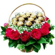 chocolate flowers dubai basket with roses and chocolate flower delivery 12