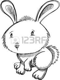 notebook doodle sketch easter bunny rabbit vector illustration