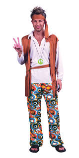 Size Hippie Halloween Costumes Mens Size Hippy 1970s Flower Power Fancy Dress Costume 70s