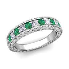 emerald bands rings images Diamond and emerald wedding ring band in 18k gold jpg