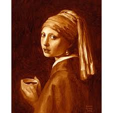 painting the girl with the pearl earring coffee creations paintings recreated with espresso by