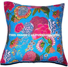 Cusion Cover 24x24 Indian Kantha Throw Pillows Indian Decorative Pillow Covers