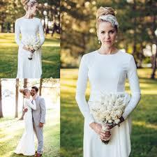elegant simple wedding dress high neck long sleeve mermaid floor