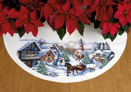 sleigh ride cross stitch tree skirt by dimensions